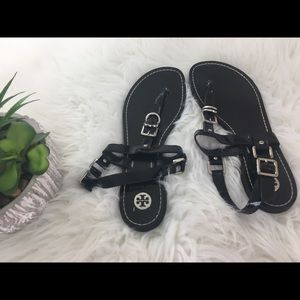 Tory Burch black flip flops sandals size 8